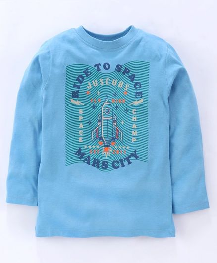 Jus Cubs Ride To Space Mars City Printed Full Sleeves Tee - Light Blue