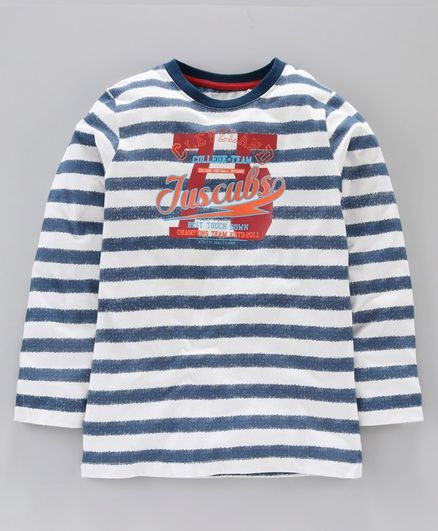 Jus Cubs Striped Full Sleeves Tee - Blue