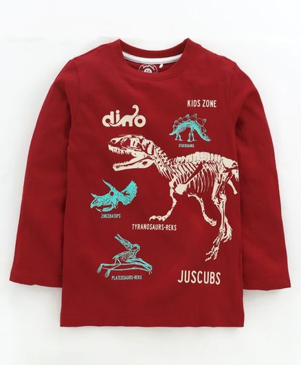 Jus Cubs Dinosaur Printed Full Sleeves Tee - Red