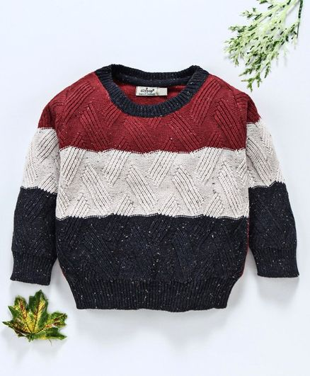 Ollypop Full Sleeves Pullover Organic Cotton Sweater - Red & White