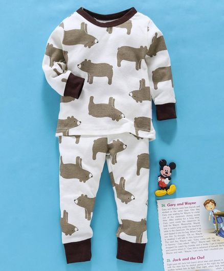 Yiyi Garden Full Sleeves Night Suit Bear Print - White Brown