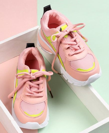 Cute Walk by Babyhug Lace Up Sports Shoes - Peach