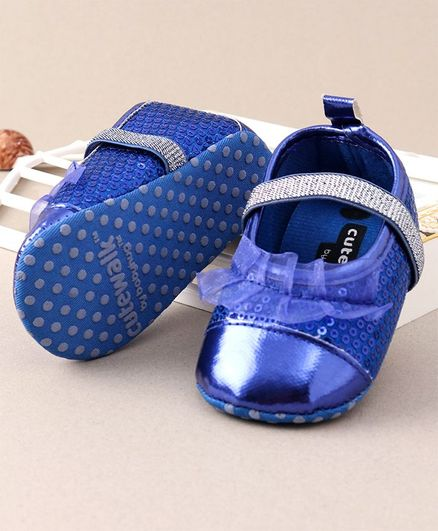 Cute Walk by Babyhug Booties Sequin & Frills Embellished - Glittery Blue