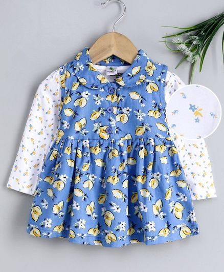 Cucumber Frock With Full Sleeves Inner Tee Fruit Print - Blue