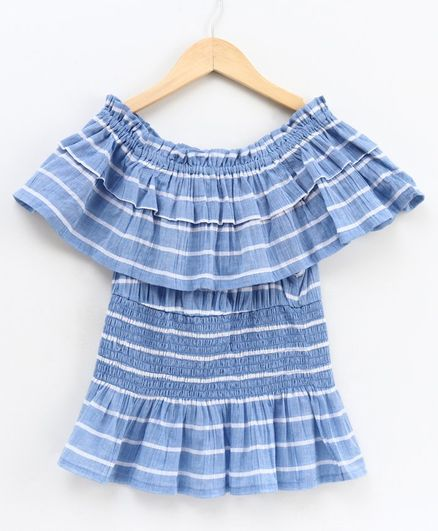 Natilene Half Sleeves Striped Cinched Waist Top - Blue