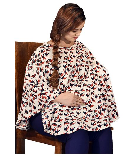 Mum's Caress Premium Feeding Covers Birdy Print - Blue Red
