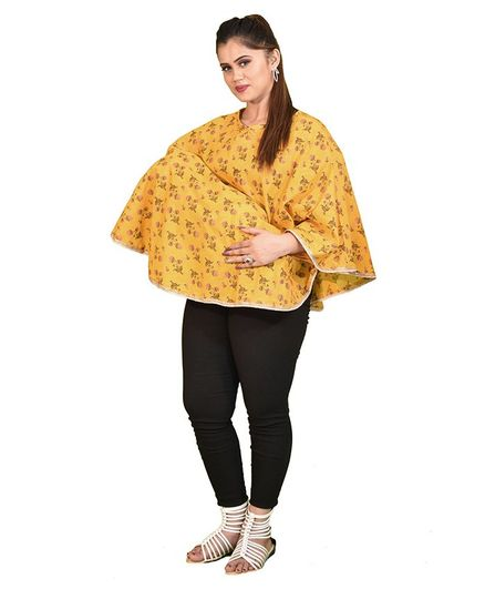 Mum's Caress Premium Feeding Covers Golden Floral Print - Yellow