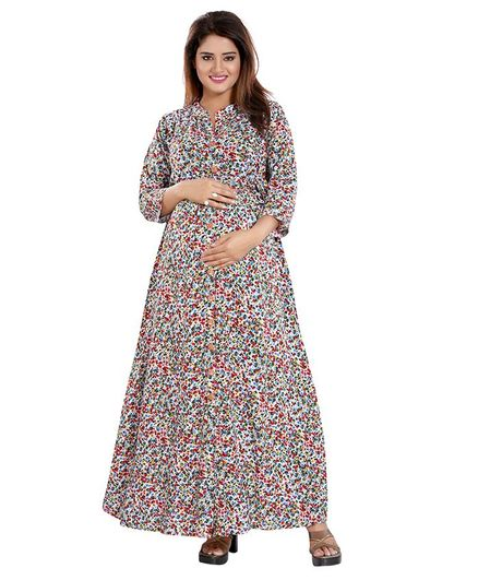 Mamma's Maternity All Over Flower Print Three Fourth Sleeves Dress - Red