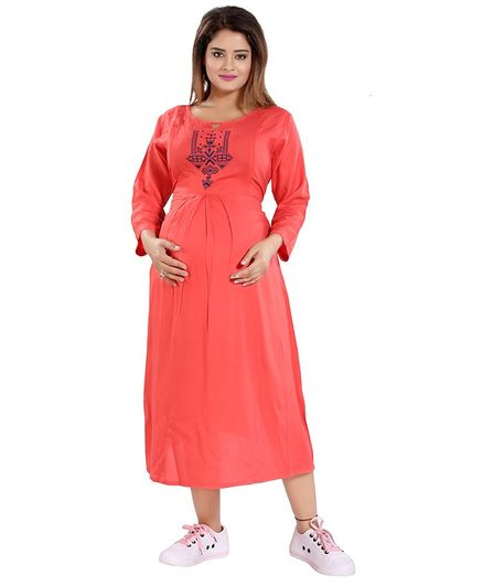 Mamma's Maternity Embroidered Neckline Full Sleeves Dress - Peach