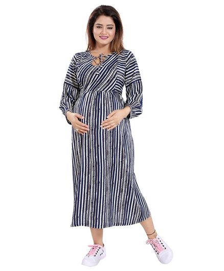 Mamma's Maternity Striped Full Sleeves Dress - Navy Blue & Off White