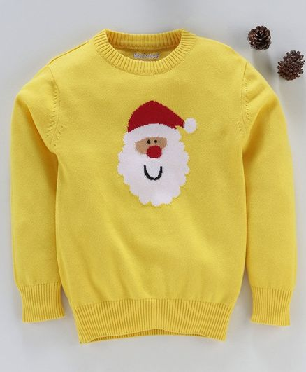 Mom's Love Full Sleeves Pullover Sweater Santa Claus Print - Yellow