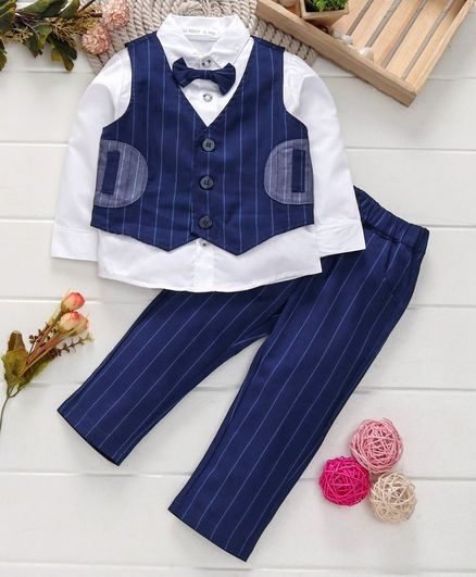Mark & Mia 3 Piece Full Sleeves Striped Party Suit - White Navy Blue