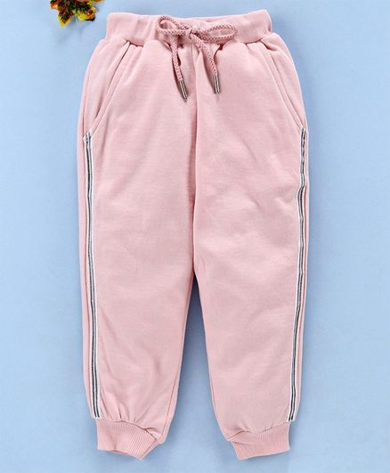 Smarty Full Length Fleece Track Pant With Drawstring - Peach