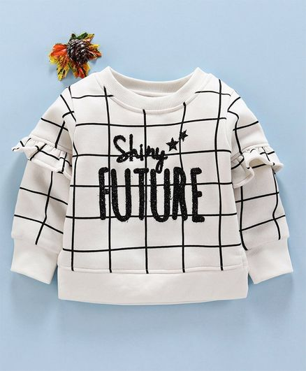 Little Kangaroos Full Sleeves Winter Wear Top Text Design - White