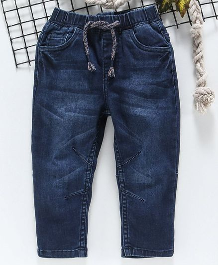 Babyhug Full Length Denim Jeans - Navy Blue