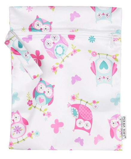 Polka Tots Waterproof Owl Themed Wet Bag Pouch With Zipper - White Pink