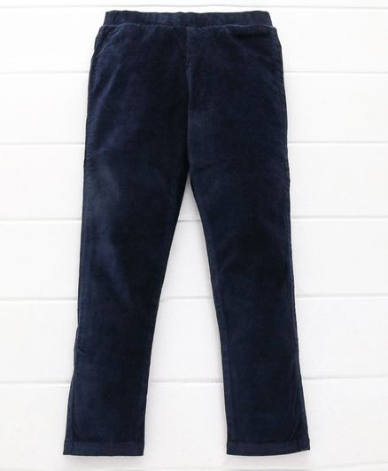 UCB Full Length Solid Party Wear Trouser - Navy Blue