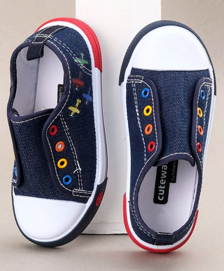 Cute Walk by Babyhug Canvas Shoes - Dark Blue