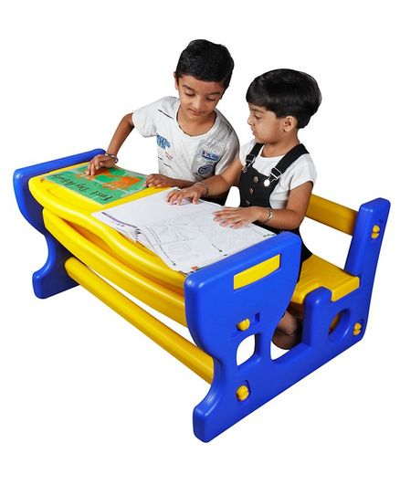 Kiddie Fun Two Seater Baby Desk - Yellow Blue