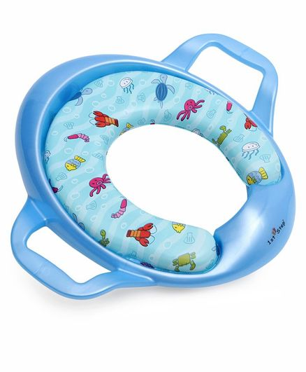 1st Step Cushioned Potty Seat With Handle Marine Life Print - Blue