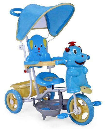 Babyhug Happy Hippo Tricycle With Canopy & Parental Push Bar - Blue