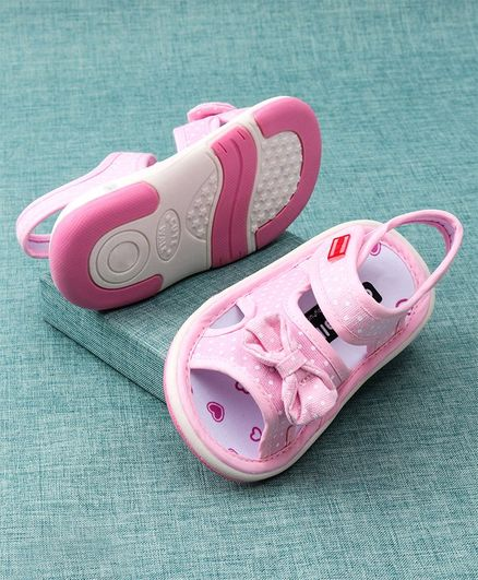 Cute Walk by Babyhug Sandals Bow Applique - Light Pink