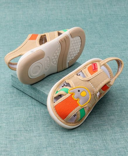 Cute Walk by Babyhug Sandals Elephant Patch - Beige