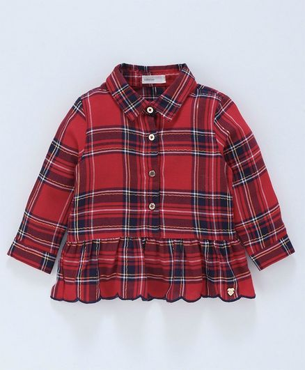 Babyoye Cotton Full Sleeves Checks Pattern Top - Red
