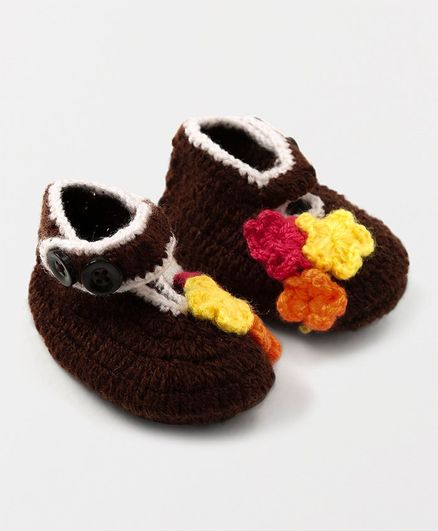 MayRa Knits Flower Detailed Booties - Brown