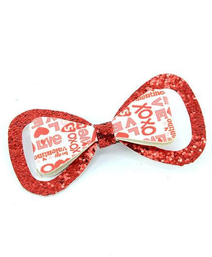 Aye Candy Sequined Bow Design Alligator Clip - Red