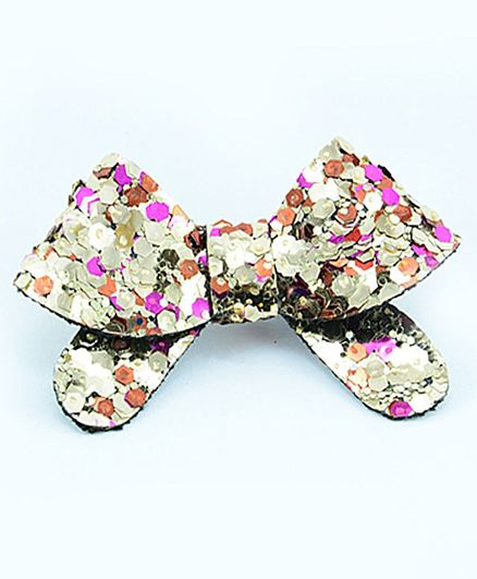 Aye Candy Sequined Bow Design Alligator Clip - Multicolor