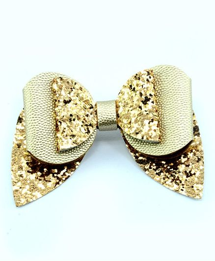 Aye Candy Sequined Bow Design Alligator Clip - Golden
