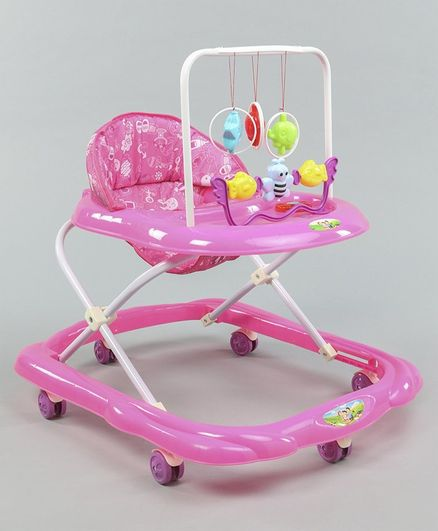 Baby Walker With Attached Hanging Toy  - Pink