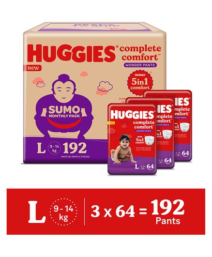 Huggies Wonder Pants Diapers Sumo Pack Large Size - 192 Pieces