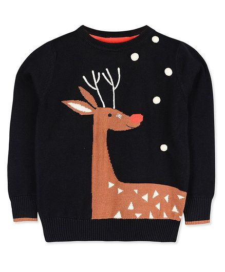 Cherry Crumble by Nitt Hyman Reindeer Design Full Sleeves Sweater - Black