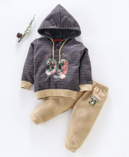 Cucumber Full Sleeves Striped Hooded Tee & Lounge Pant Numeric Print - Grey