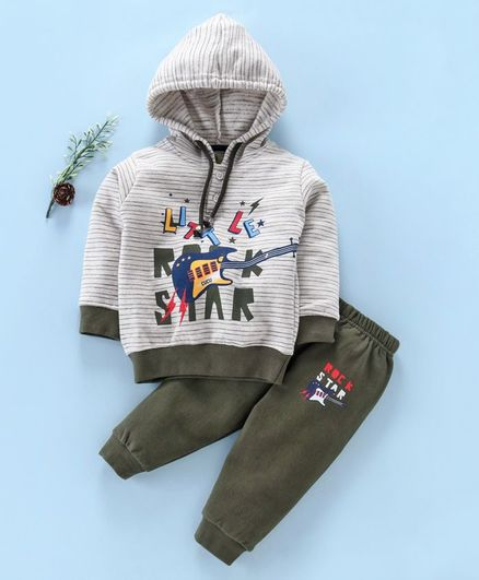 Cucumber Full Sleeves Striped Hooded Tee & Lounge Pant Guitar Print - Olive