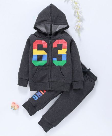 Vitamins Full Sleeves Hooded Sweat Jacket With Lounge Pant Number Print - Dark Grey