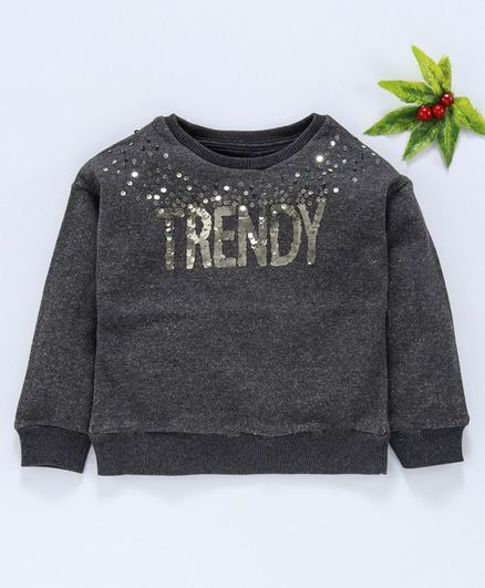Vitamins Full Sleeves Party Wear Winter Top Trendy Sequin Design - Grey