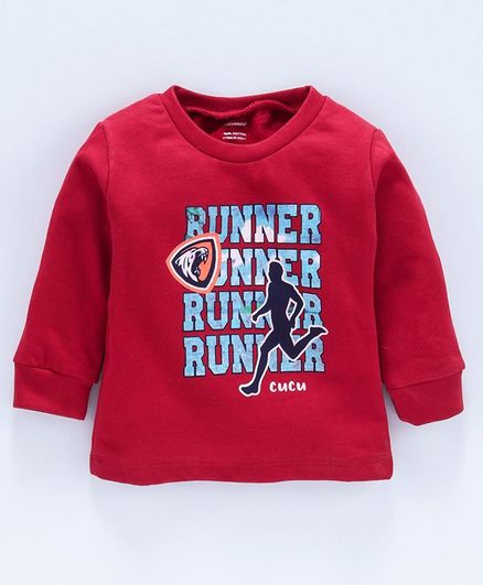 Cucumber Full Sleeves Sweat Shirt Text Print - Red