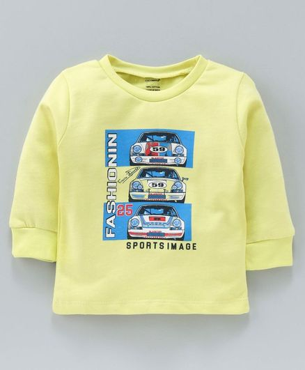 Cucumber Full Sleeves Sweat Shirt Text Print - Yellow