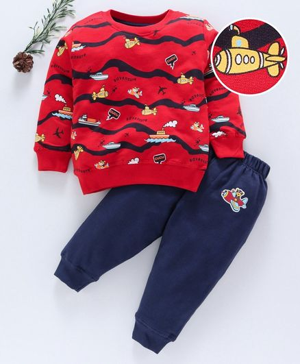 Cucumber Full Sleeves Tee & Lounge Pant Aeroplane Print - Red