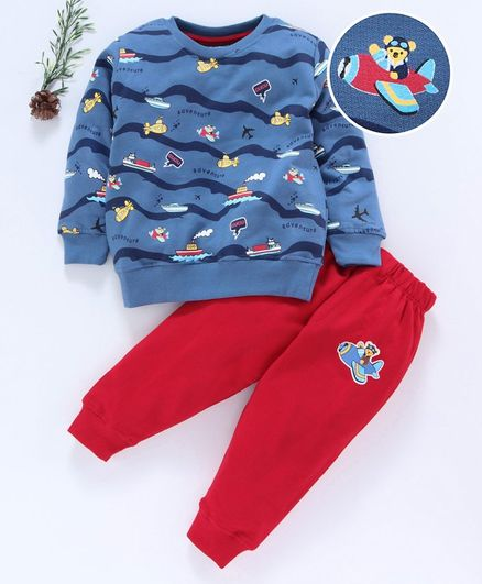 Cucumber Full Sleeves Tee & Lounge Pant Aeroplane Print - Blue