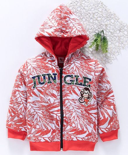 Cucumber Full Sleeves Hooded Sweat Jacket Monkey Patch - Red