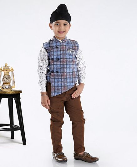 Dapper Dudes Checkered Waistcoat With Full Sleeves Shirt & Pants - Blue
