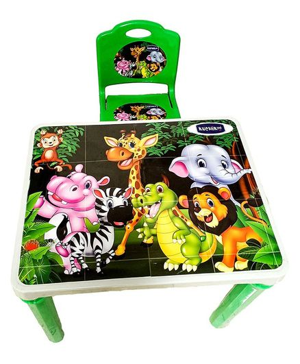 Kuchikoo Jungle Small Table Chair Combo - Green