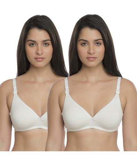 Inner Sense Solid Organic Antimicrobial Nursing Bra Pack of 2 - White