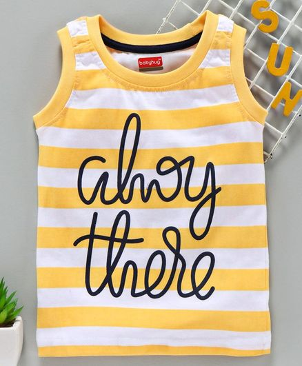 Babyhug Sleeveless Striped Tee Text Print - Yellow