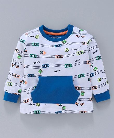 Babyoye Full Sleeves Cotton Tee Car Print - Blue White