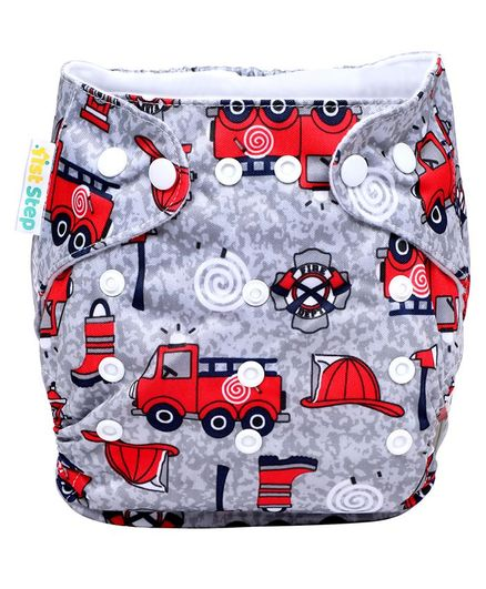 1st Step Adjustable Reusable Diaper With Diaper Liner Vehicle Print - Grey